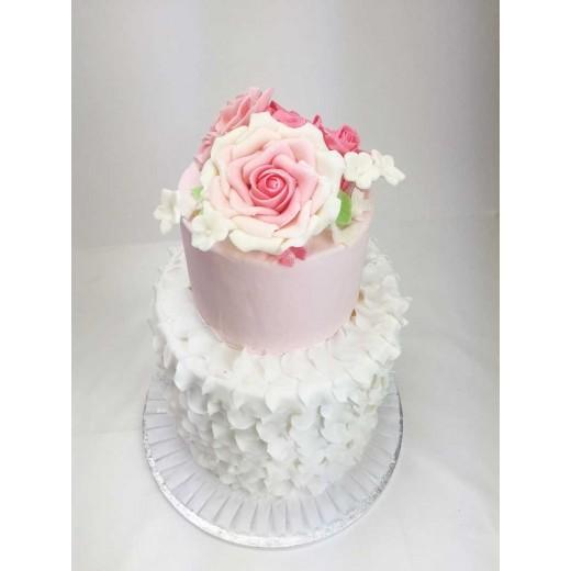 Hochzeitstorte rosa Bouquet