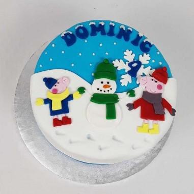 Peppa Wutz Winter Torte