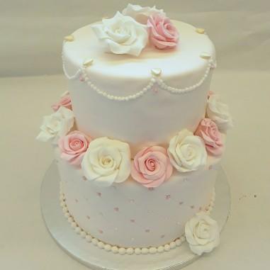 Hochzeitstorte withe rosa...