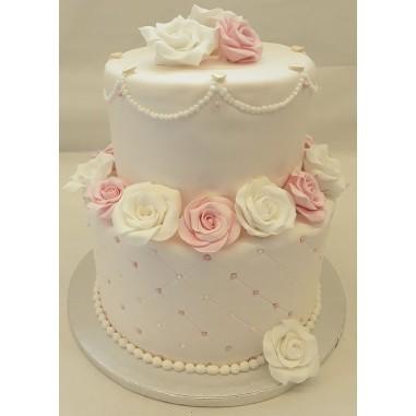 Hochzeitstorte withe rosa Roses